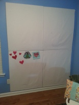 Here is my planning wall!  I still have my little paper pieced bee hanging around :)  I also added a paper pieced heart that I wanted to use up some scraps with.
